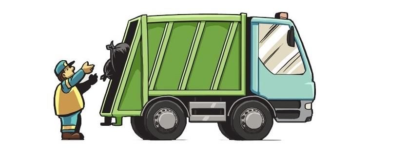 Grafika. Pracownik wrzuca worek ze śmieciami do śmieciarki.